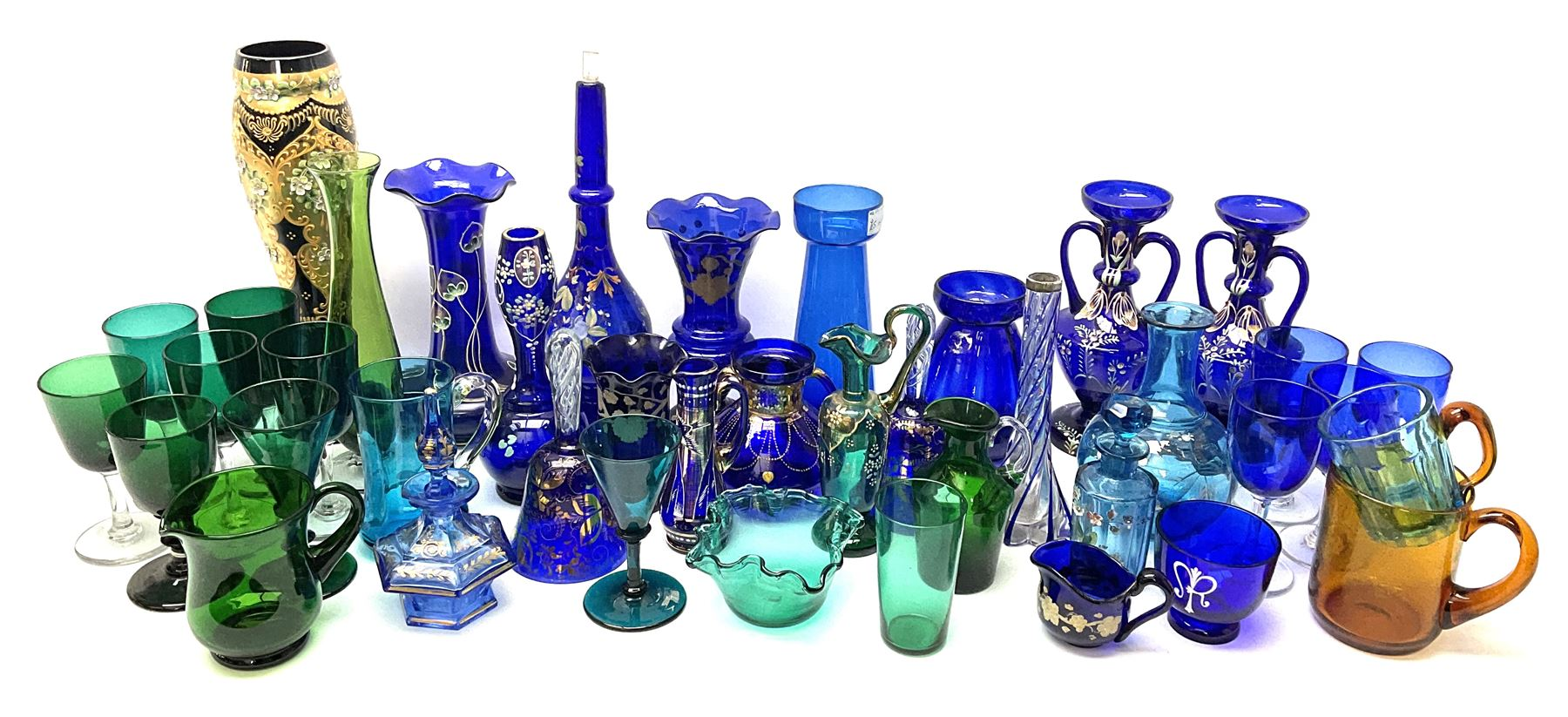 A group of 19th century and later coloured glassware