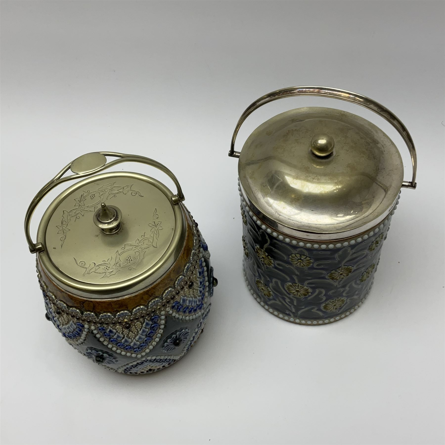 A 19th century Doulton Lambeth stoneware tobacco jar with a silver plate lid - Image 2 of 5