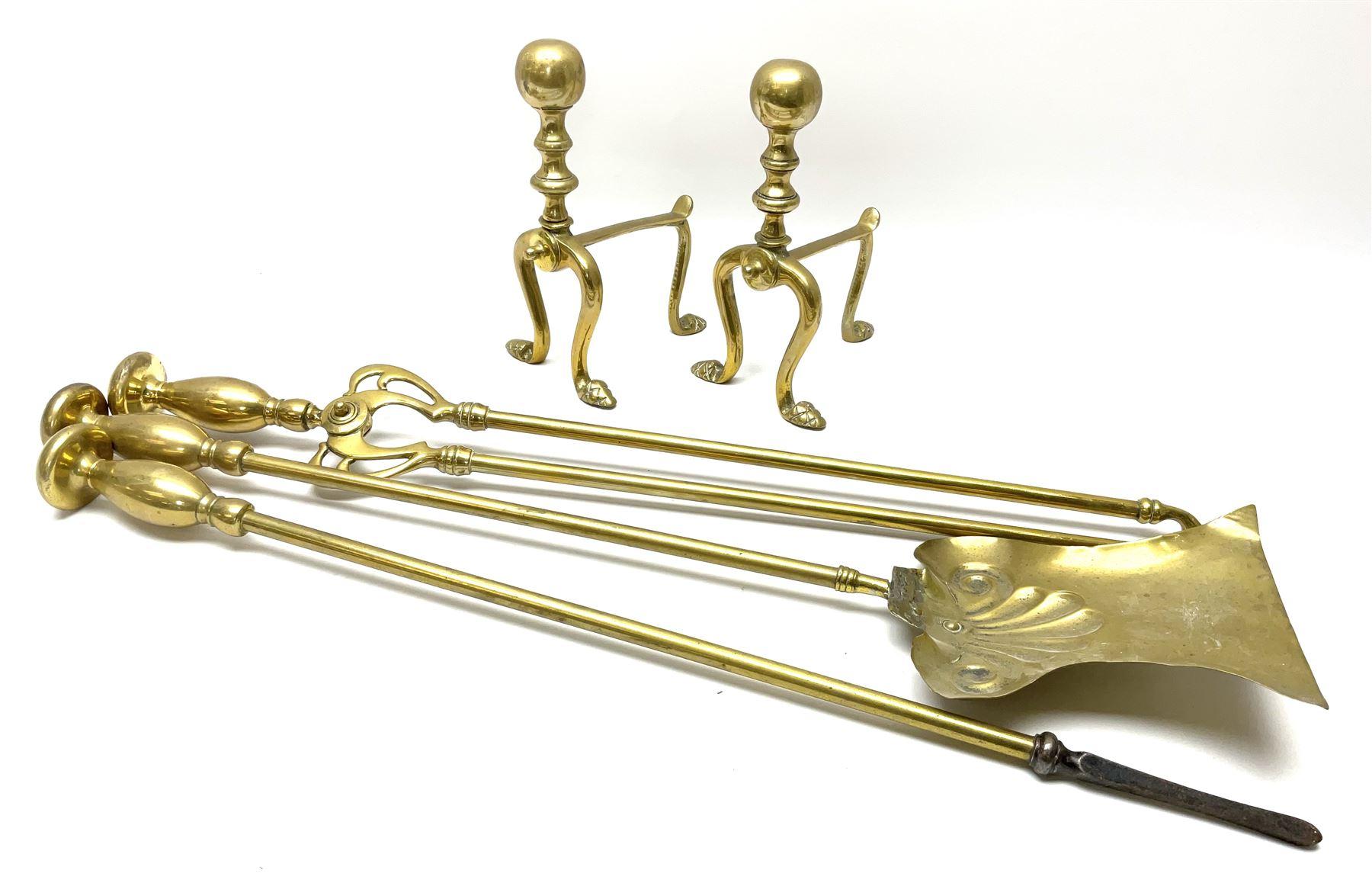 Set of three brass long-handled fire tools