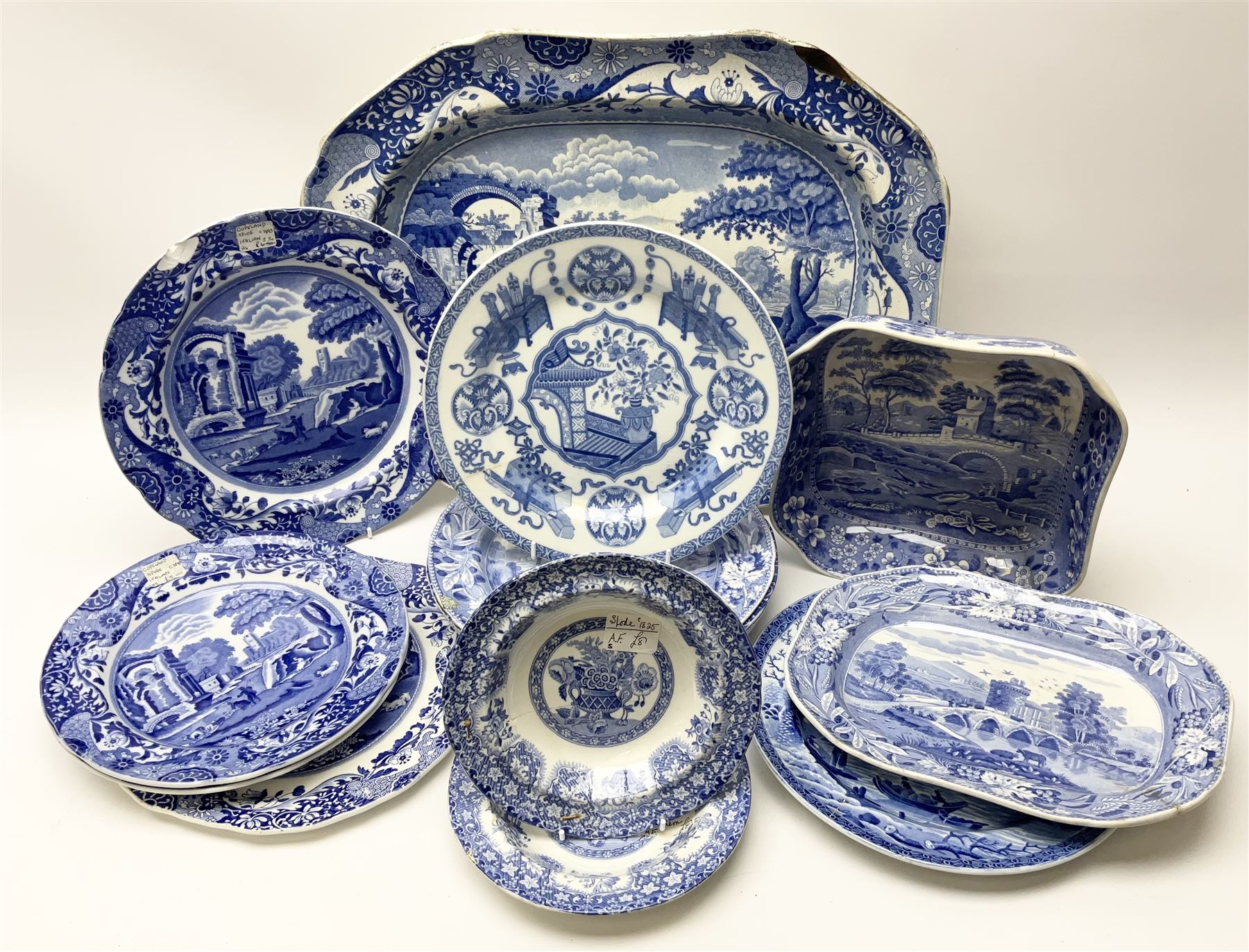 A group of 19th century Spode blue and white transfer printed pottery