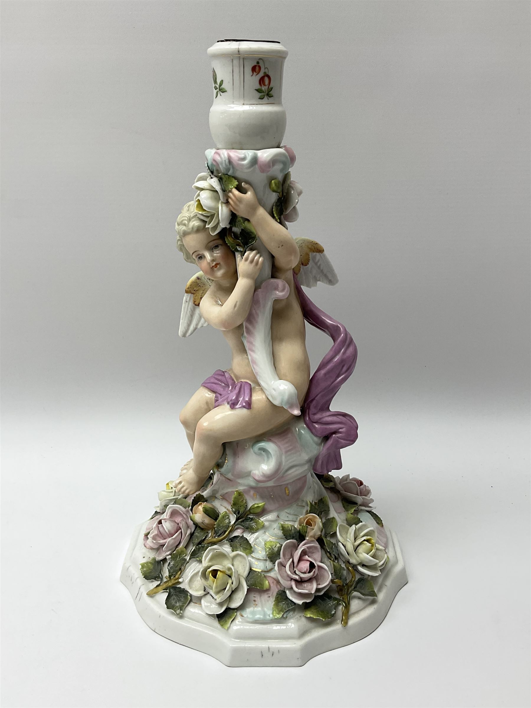 A late 19th century Sitzendorf figural candlestick - Image 2 of 6