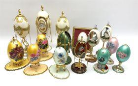 Fifteen decorative eggs