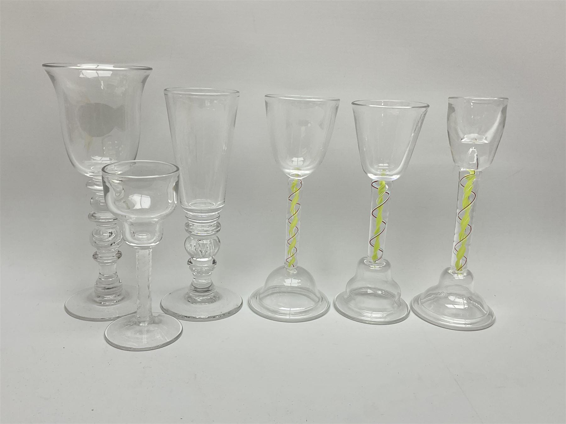 Six late 20th century Paul Manson Shilbottle Glass Studio drinking glasses