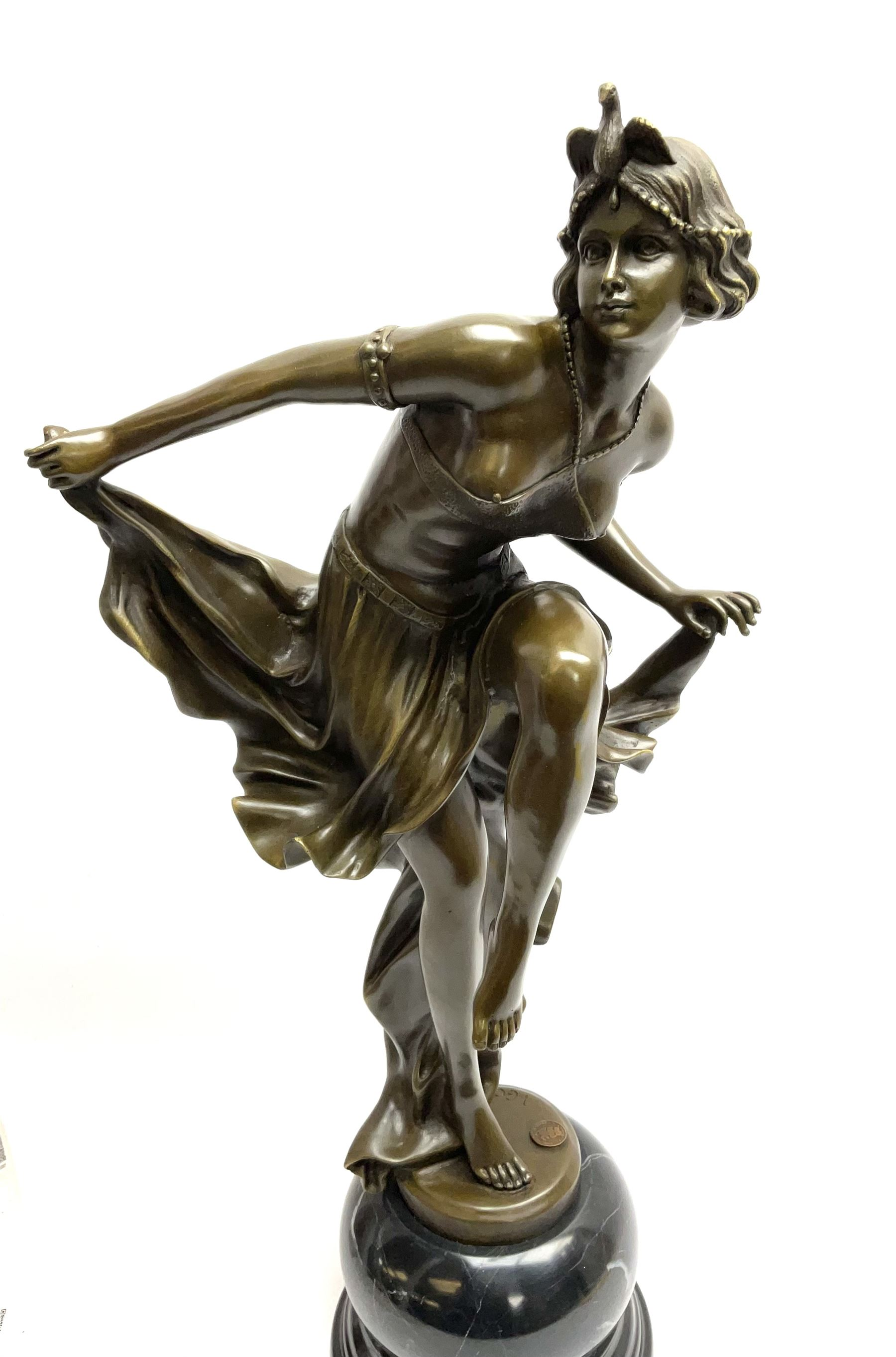 Art Deco style bronze figure of a dancer standing on one leg - Image 2 of 4