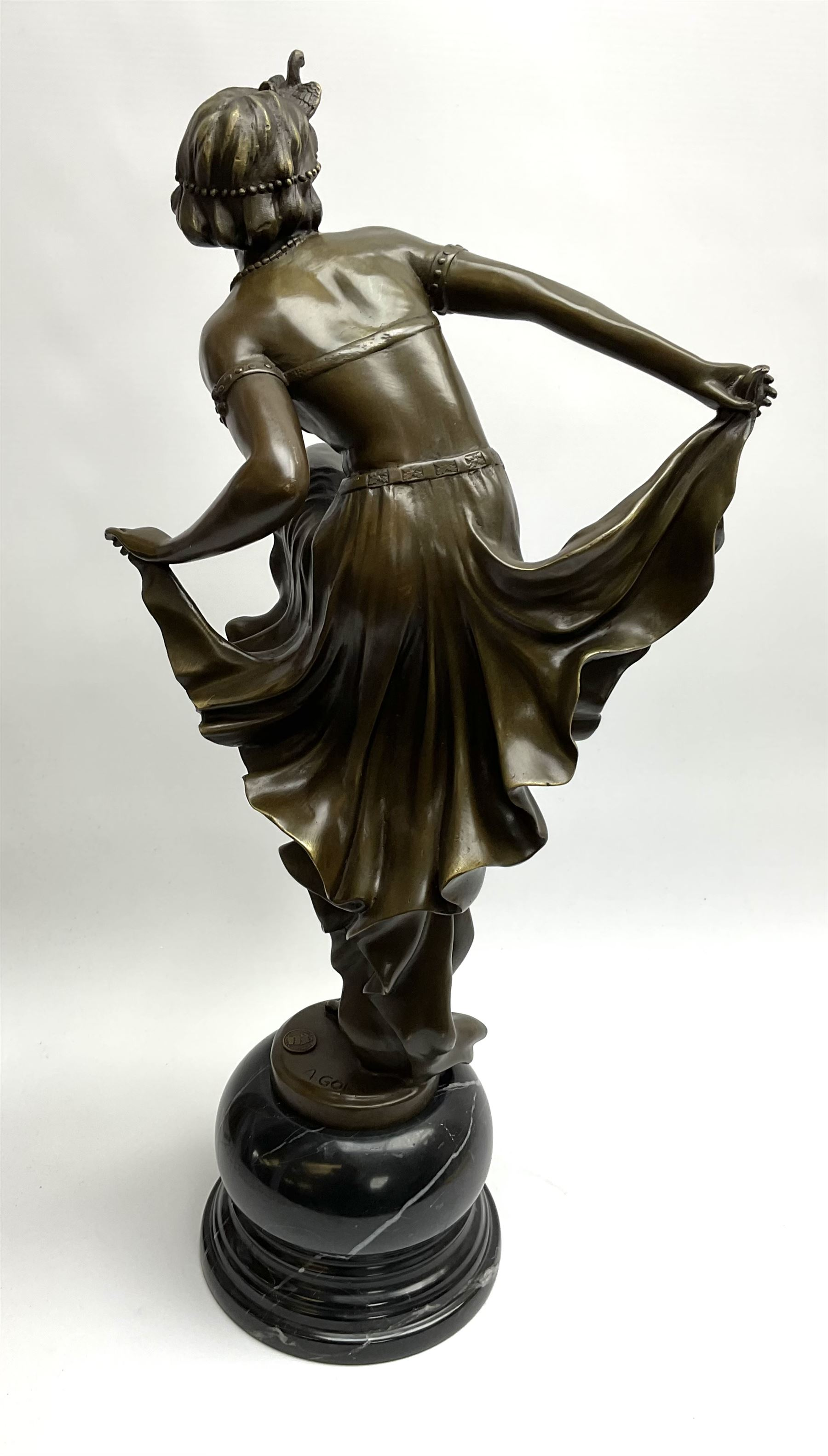 Art Deco style bronze figure of a dancer standing on one leg - Image 4 of 4