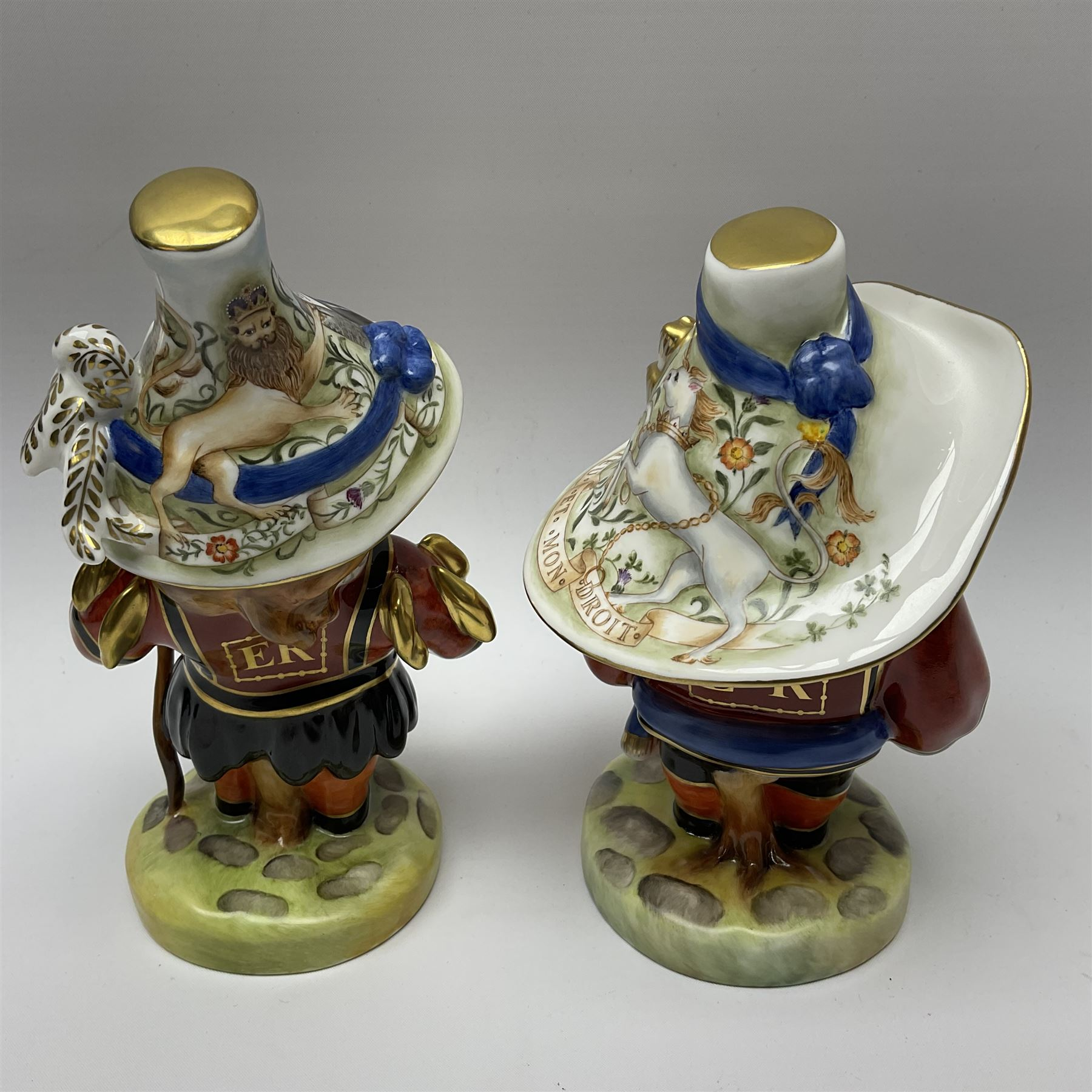 Pair of limited edition Royal Crown Derby Golden Jubilee Mansion House Dwarfs - Image 4 of 4