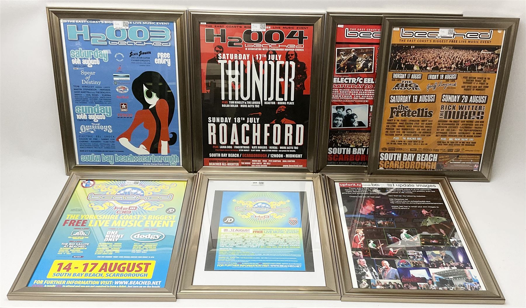 Scarborough Beached Festival - six consecutive framed posters from the years 2003-2008