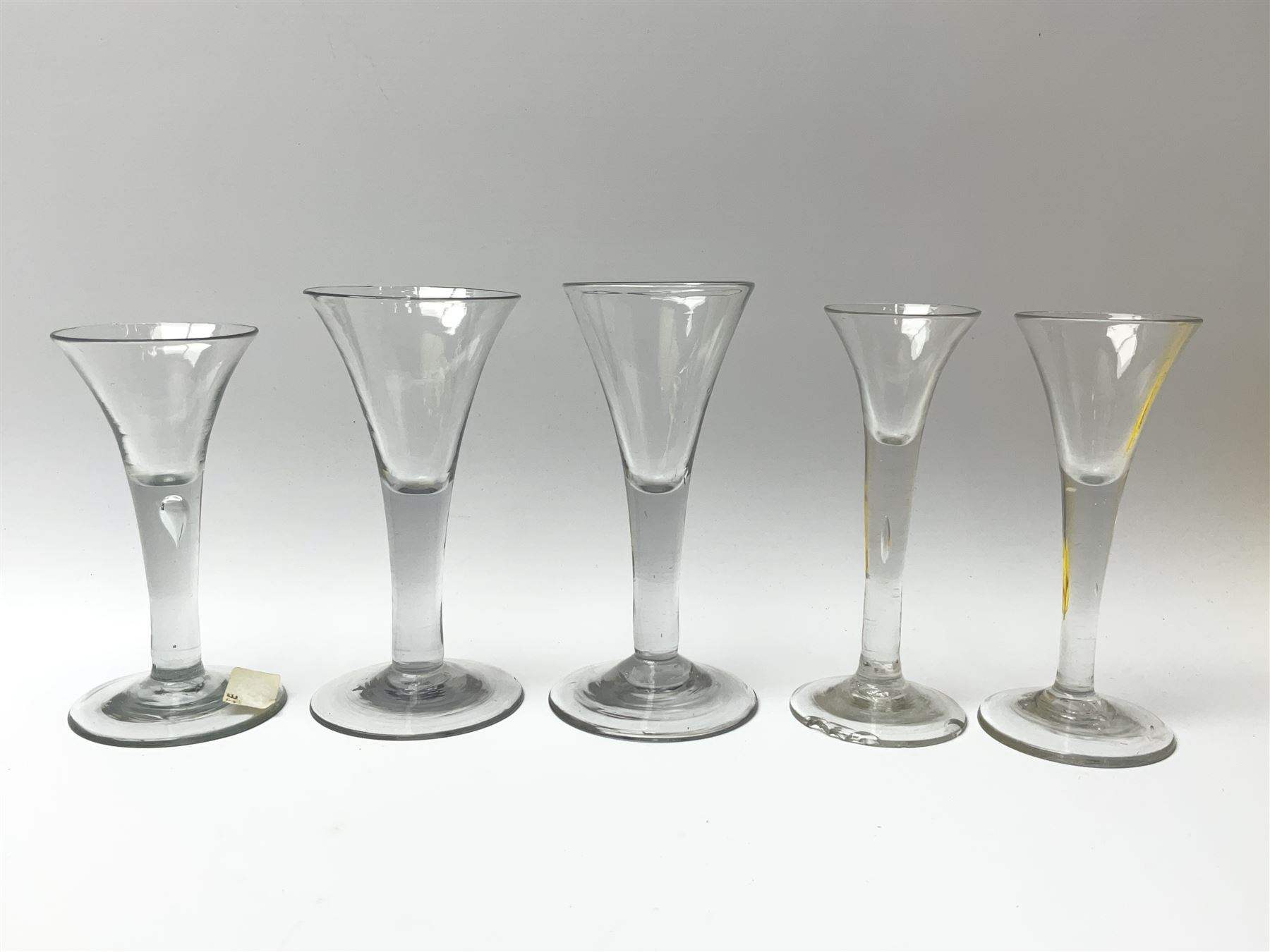 Five 18th century drinking glasses