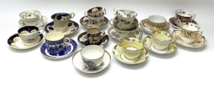 A group of Victorian tea cups and saucers