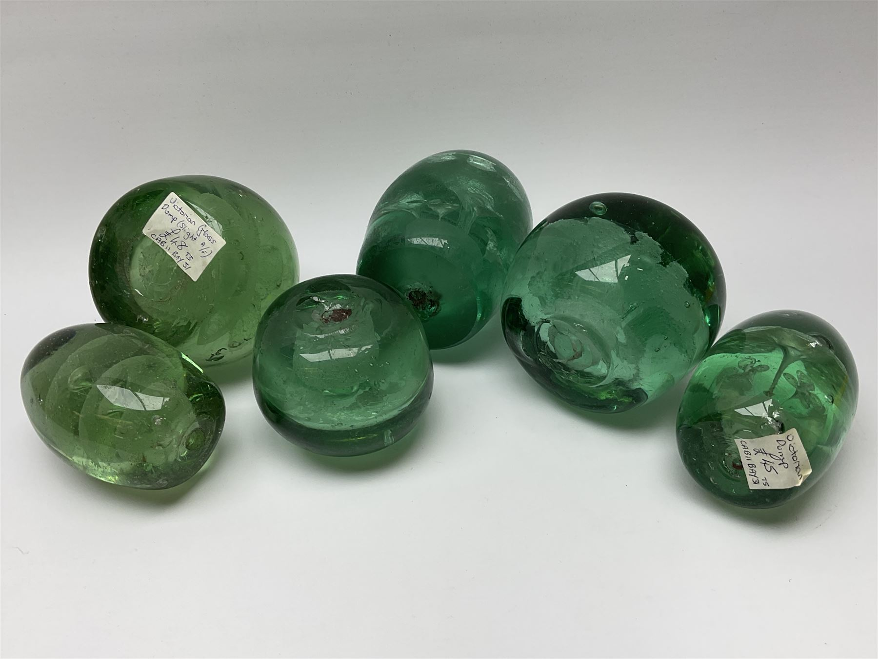Six Victorian green glass dump paperweights - Image 2 of 2