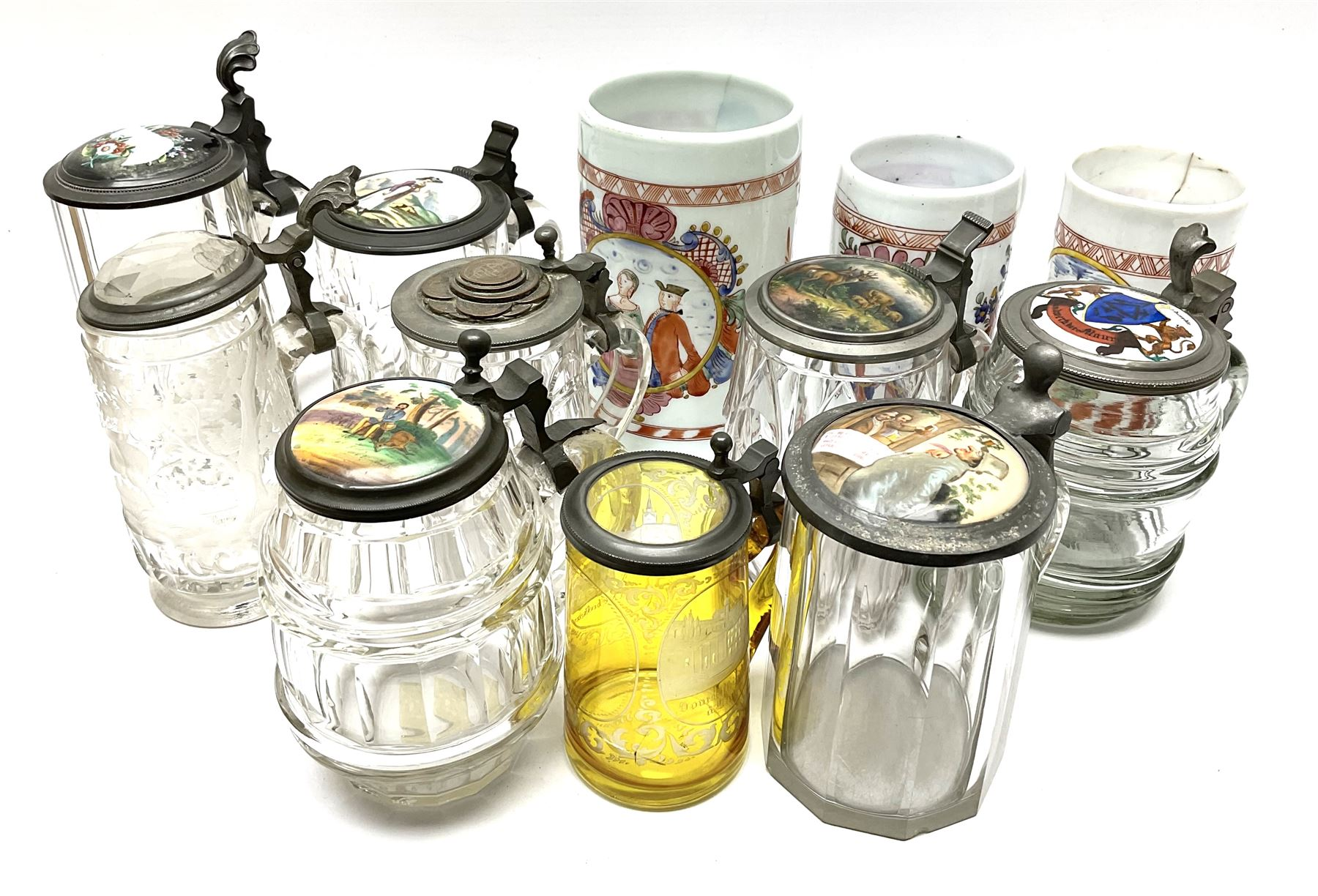 Collection of glass tankards