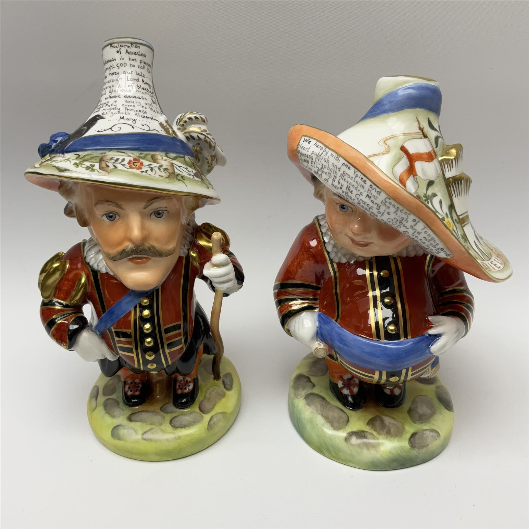 Pair of limited edition Royal Crown Derby Golden Jubilee Mansion House Dwarfs - Image 2 of 4