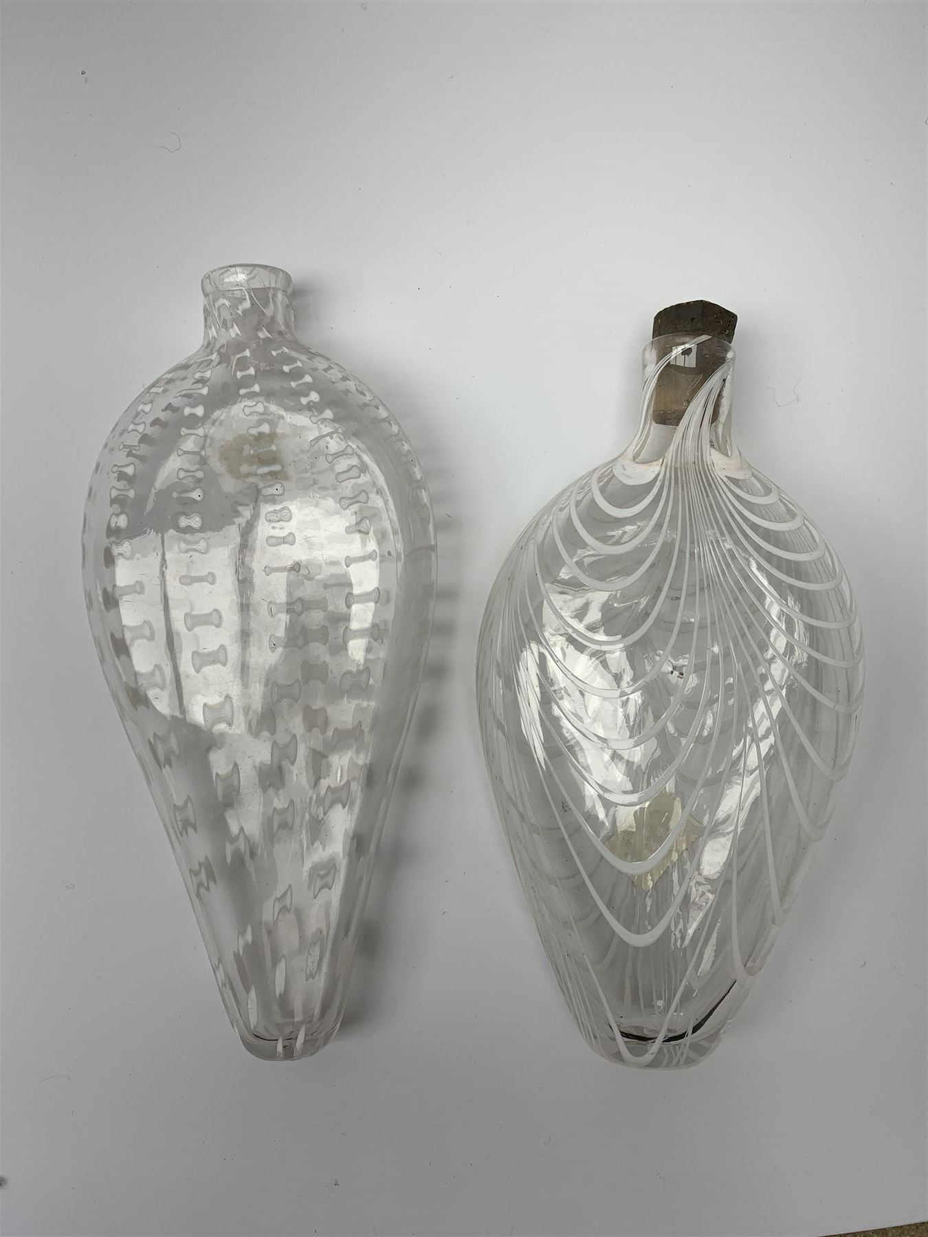 19th century Nailsea glass flask of compressed ovoid form - Image 2 of 5