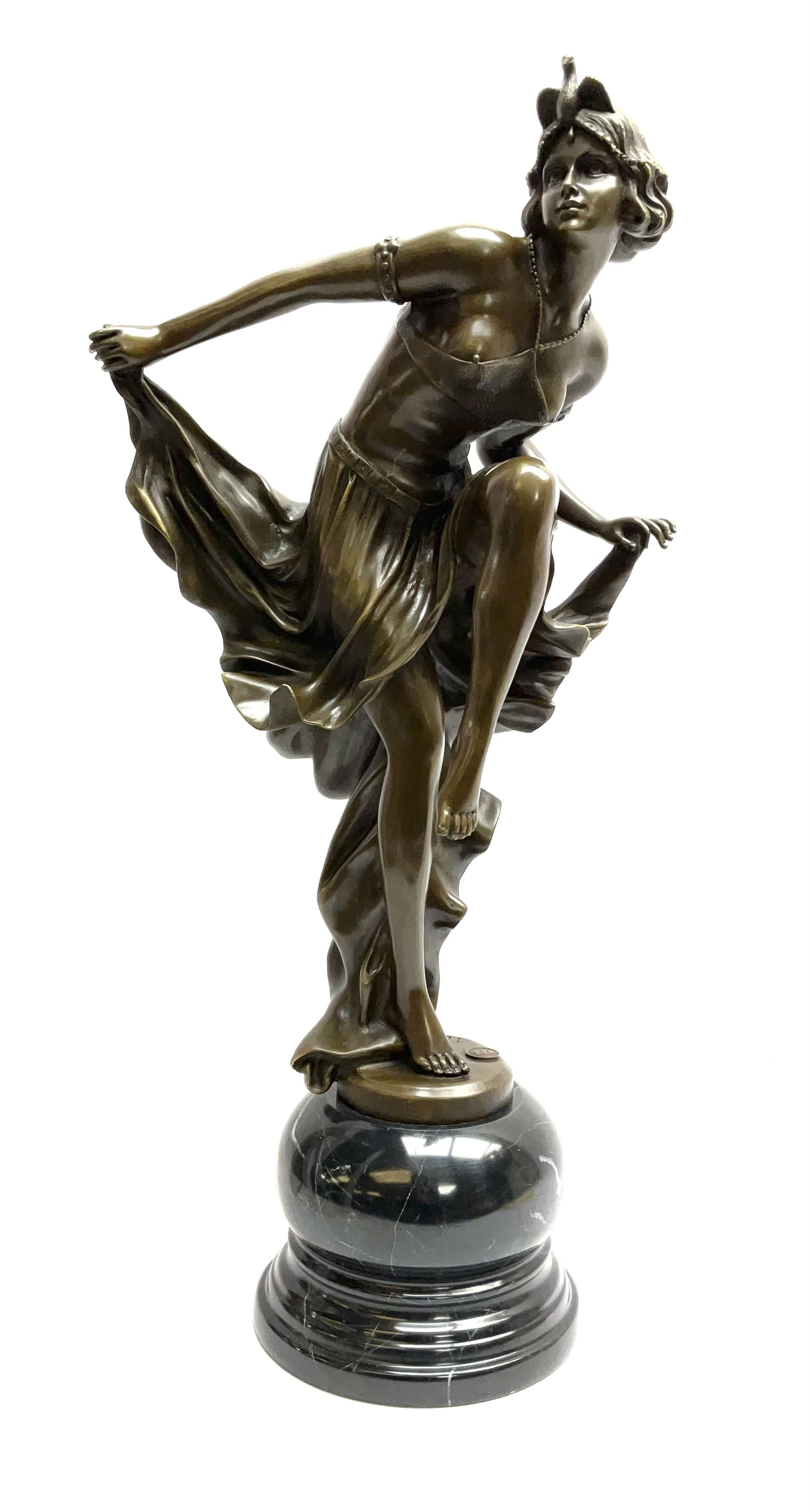 Art Deco style bronze figure of a dancer standing on one leg