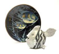 A studio pottery model of a fish