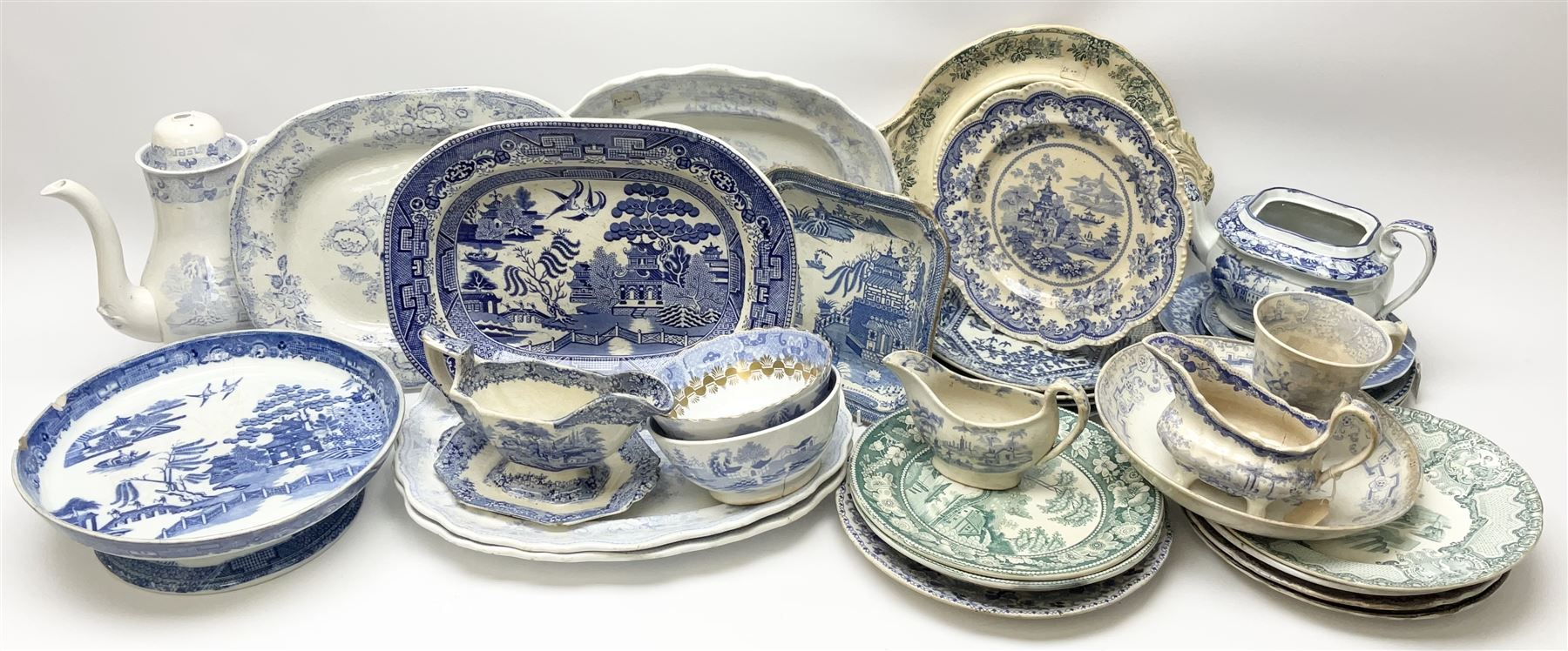 A large group of 19th century and later transfer printed pottery