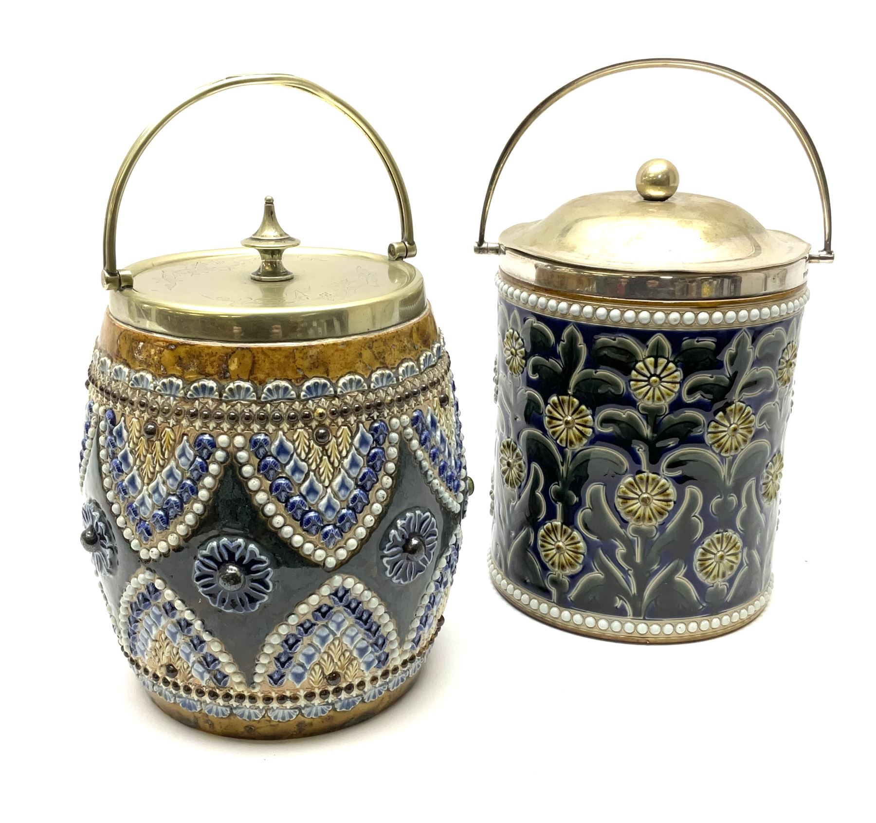A 19th century Doulton Lambeth stoneware tobacco jar with a silver plate lid