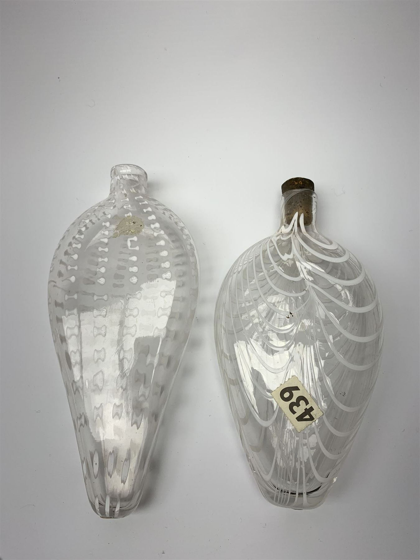 19th century Nailsea glass flask of compressed ovoid form - Image 3 of 5
