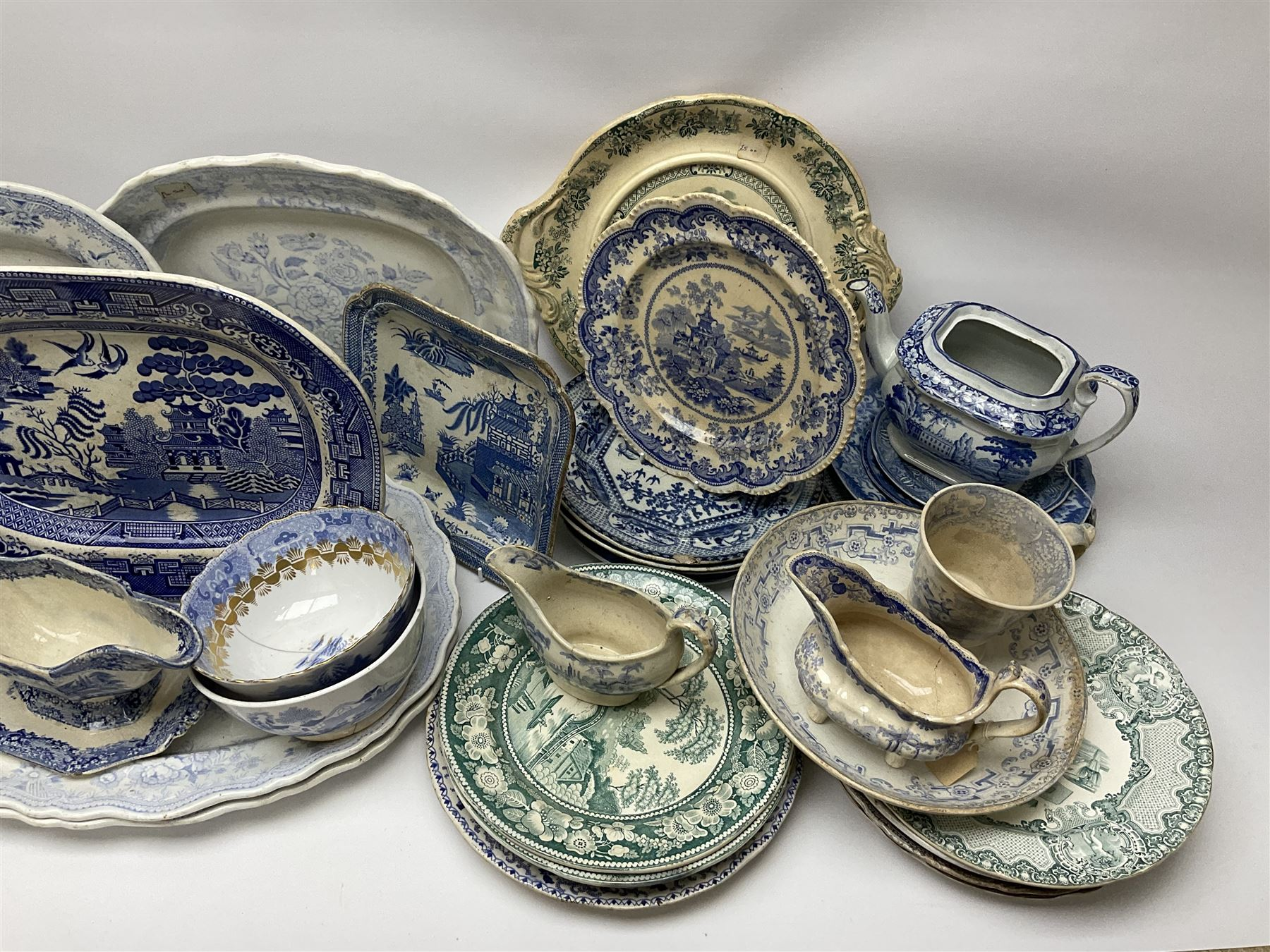 A large group of 19th century and later transfer printed pottery - Image 2 of 3