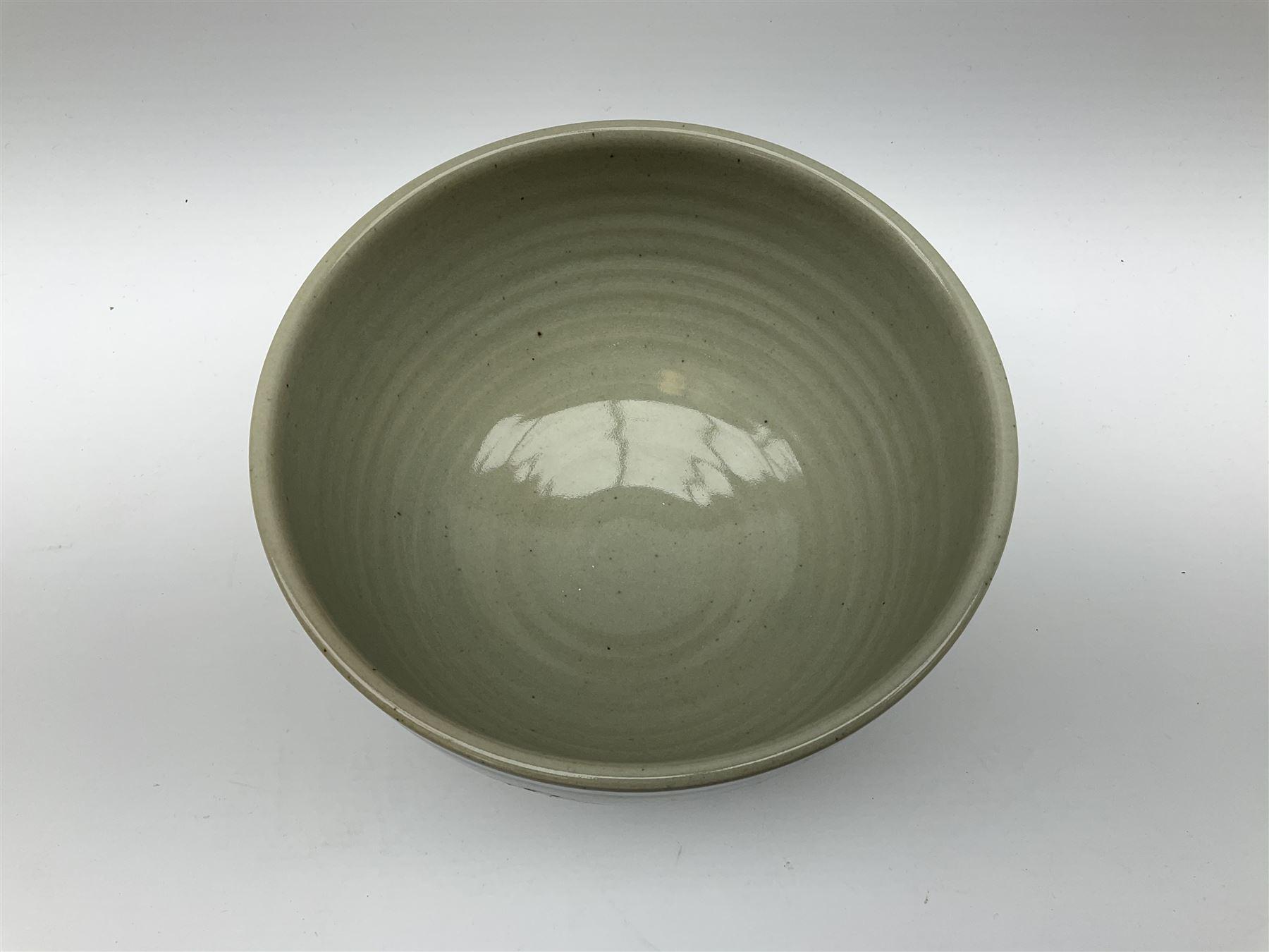 Chris Ashton studio pottery bowl with foliate boarder - Image 2 of 3