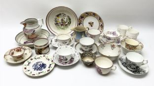 A group of assorted mostly 19th century tea wares
