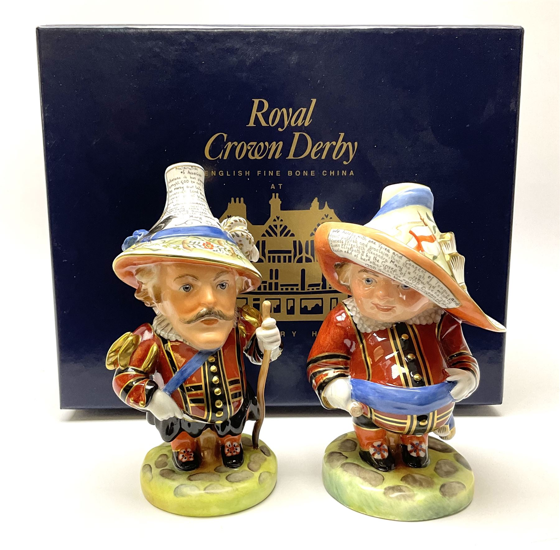 Pair of limited edition Royal Crown Derby Golden Jubilee Mansion House Dwarfs