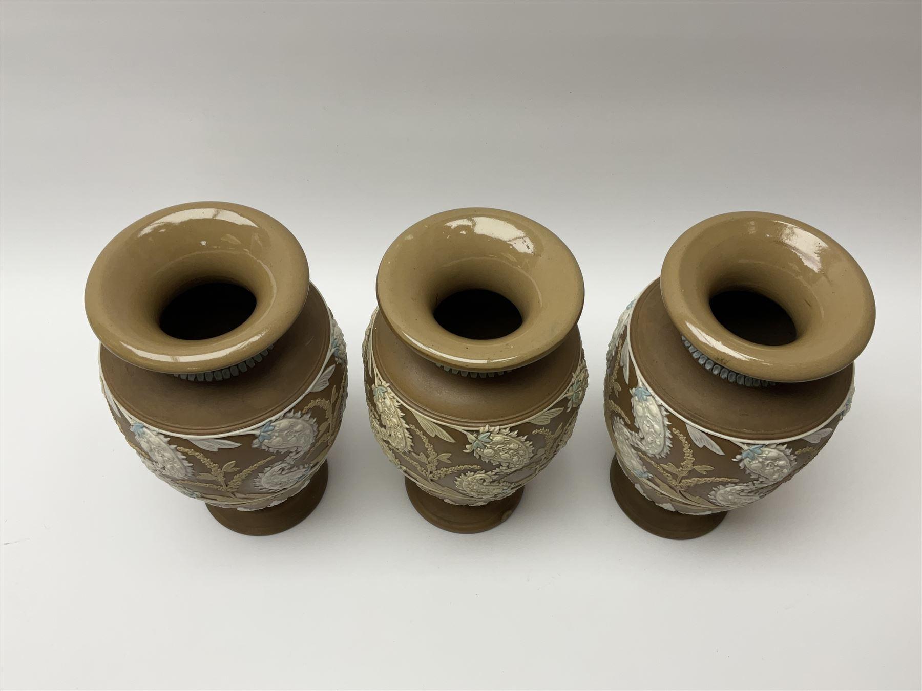 A set of three 19th century Doulton Lambeth silicon ware vases - Image 3 of 3