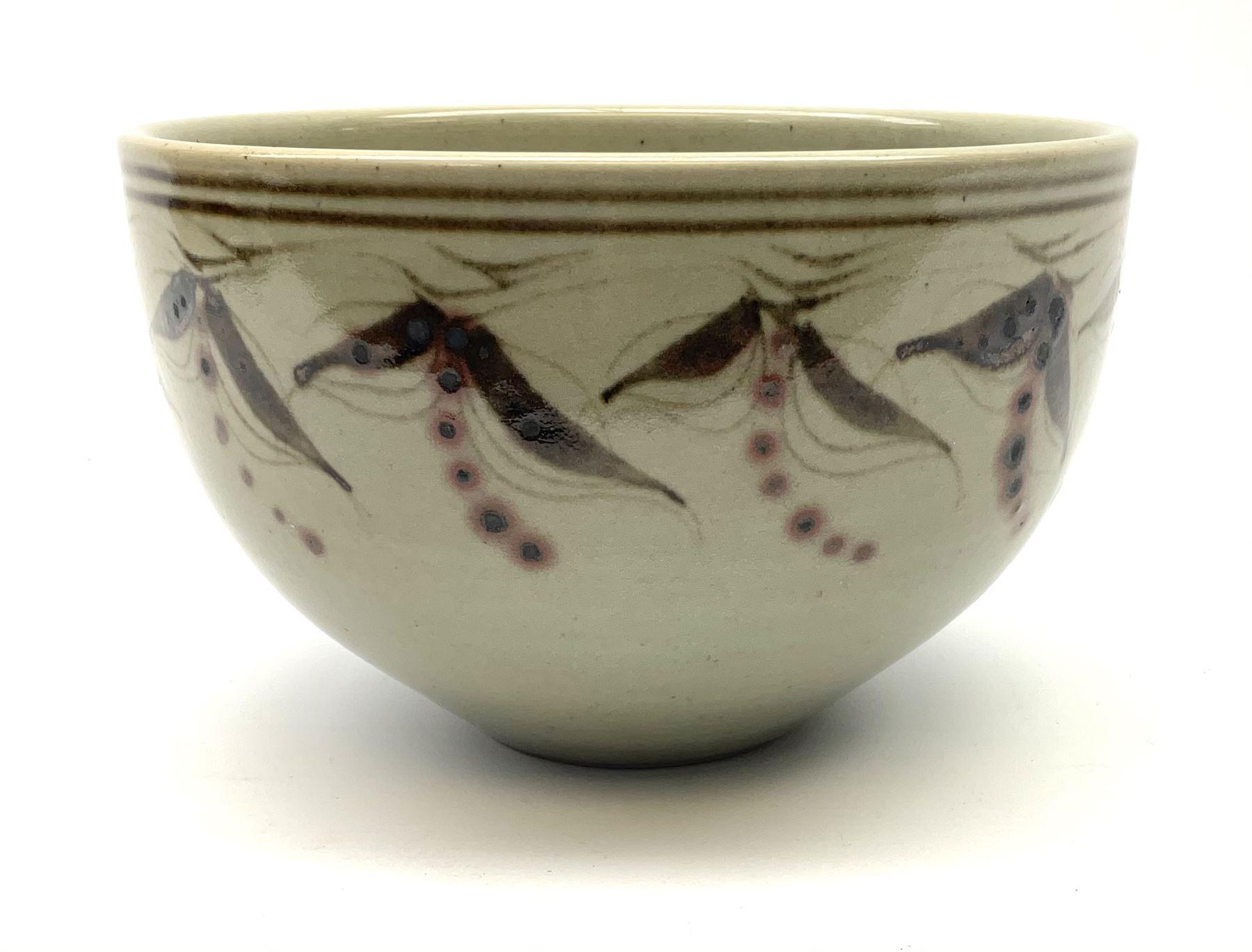 Chris Ashton studio pottery bowl with foliate boarder