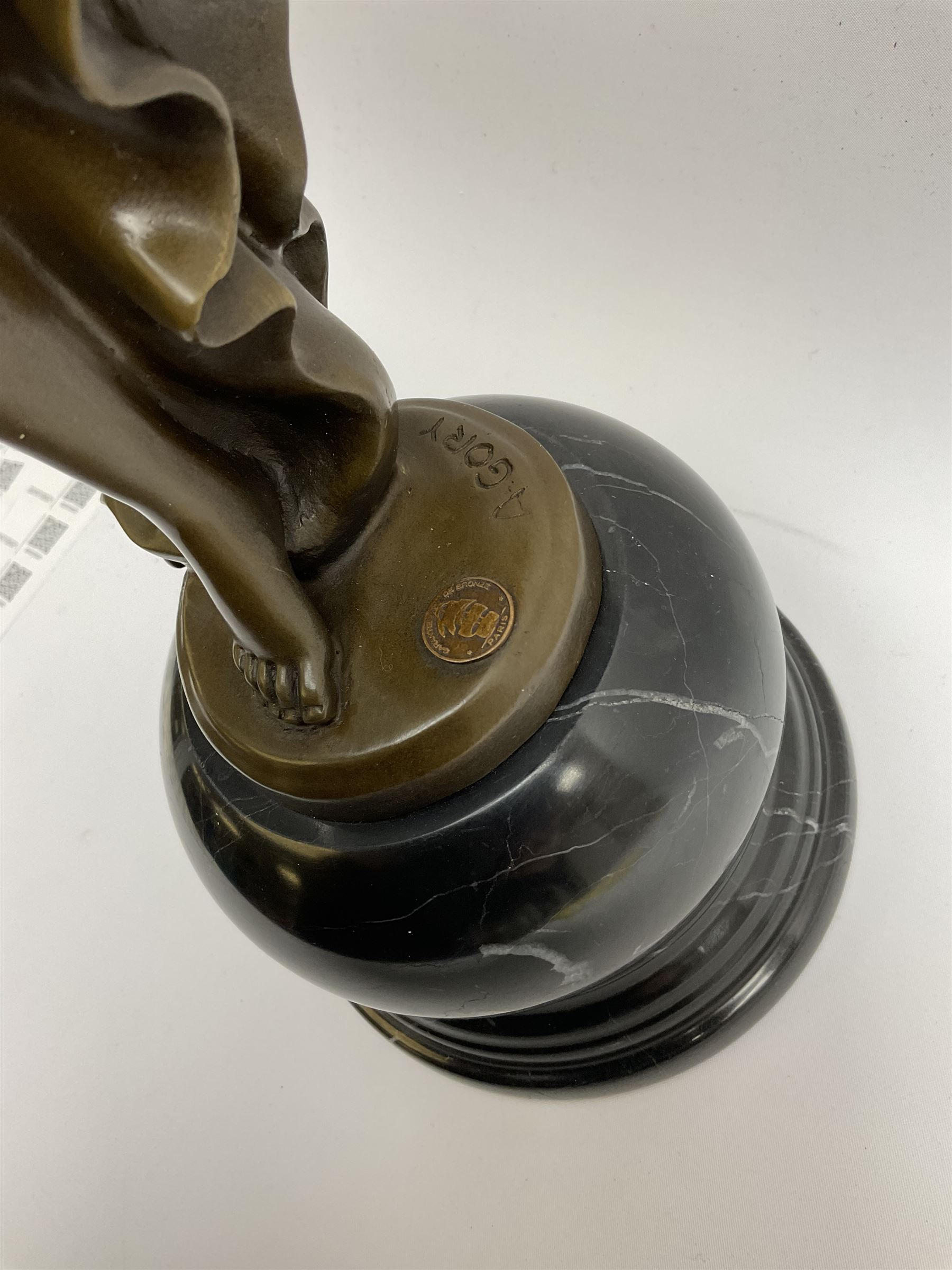 Art Deco style bronze figure of a dancer standing on one leg - Image 3 of 4