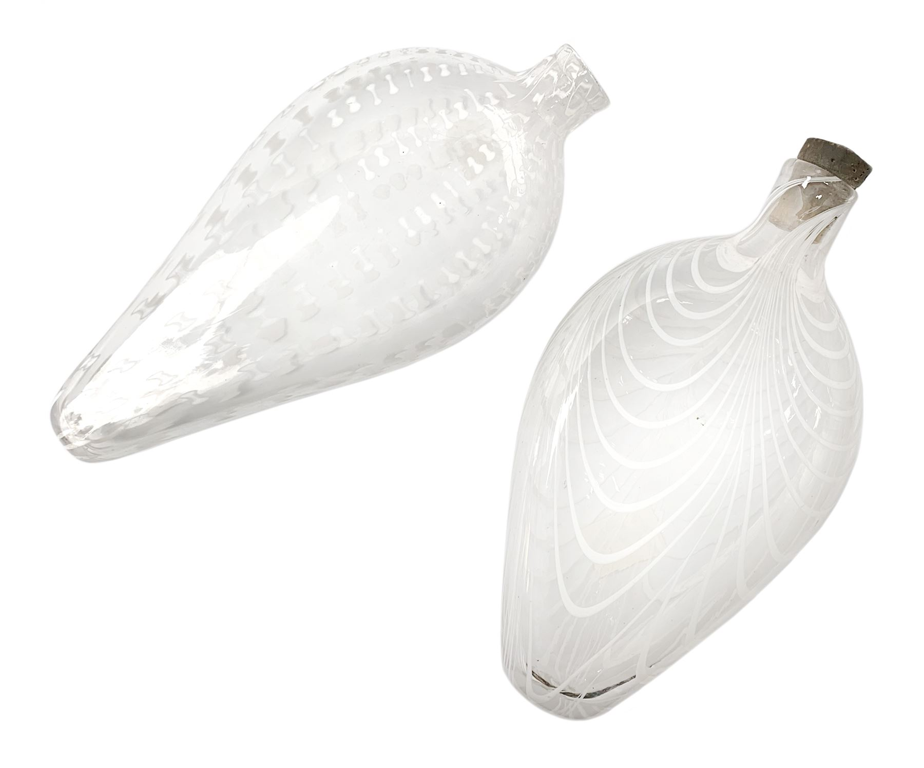 19th century Nailsea glass flask of compressed ovoid form