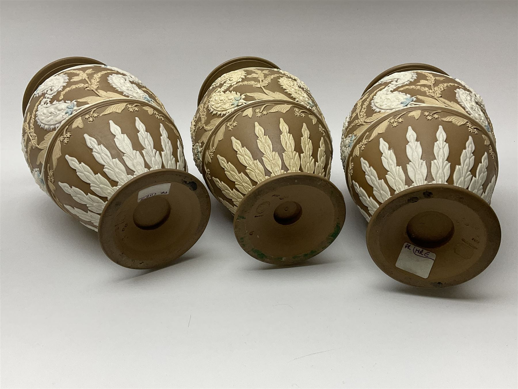 A set of three 19th century Doulton Lambeth silicon ware vases - Image 2 of 3