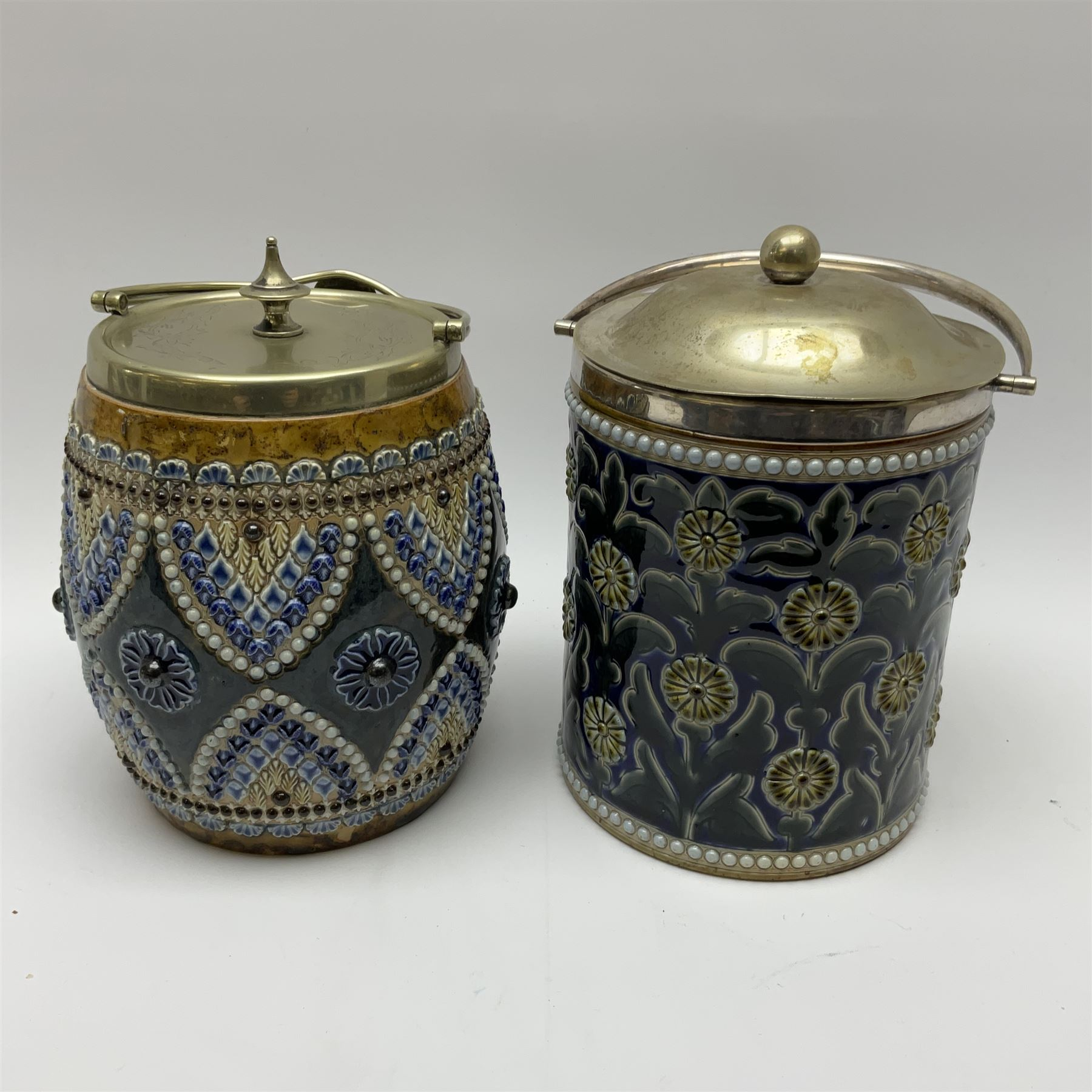 A 19th century Doulton Lambeth stoneware tobacco jar with a silver plate lid - Image 4 of 5