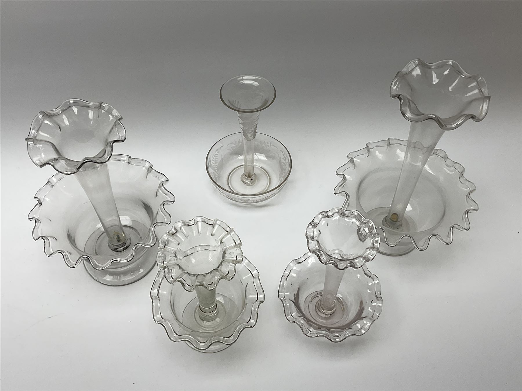 Four Victorian clear glass epergnes - Image 2 of 2
