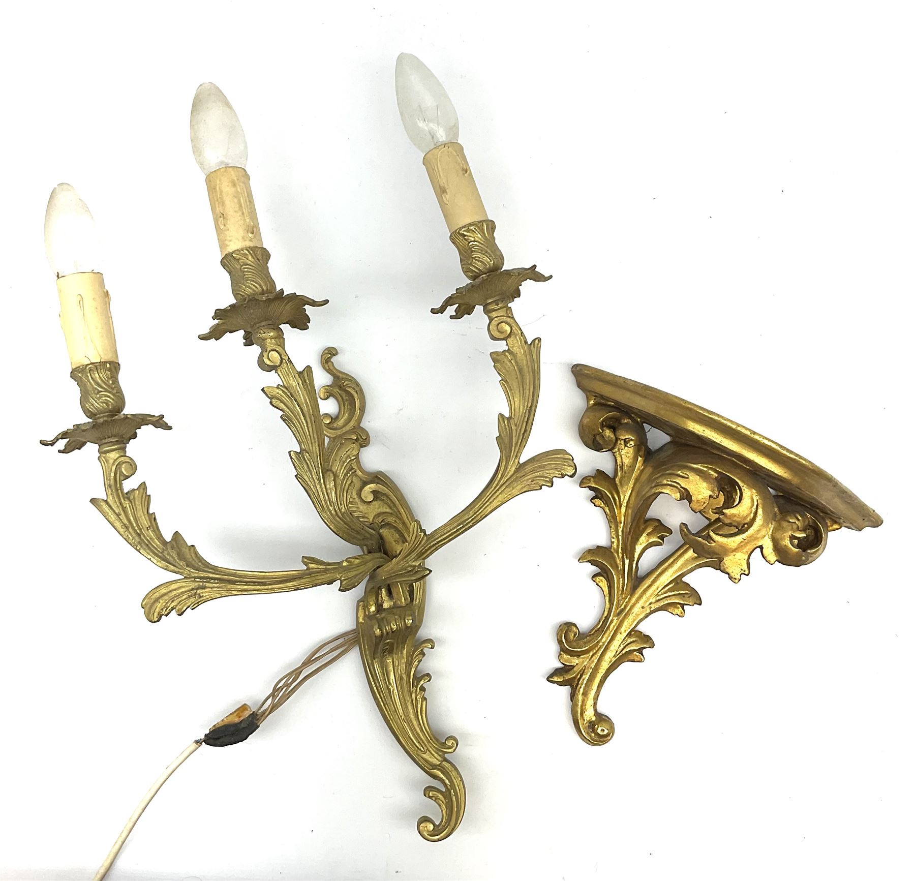 A Rococo style gilt metal three branch wall sconce wall light