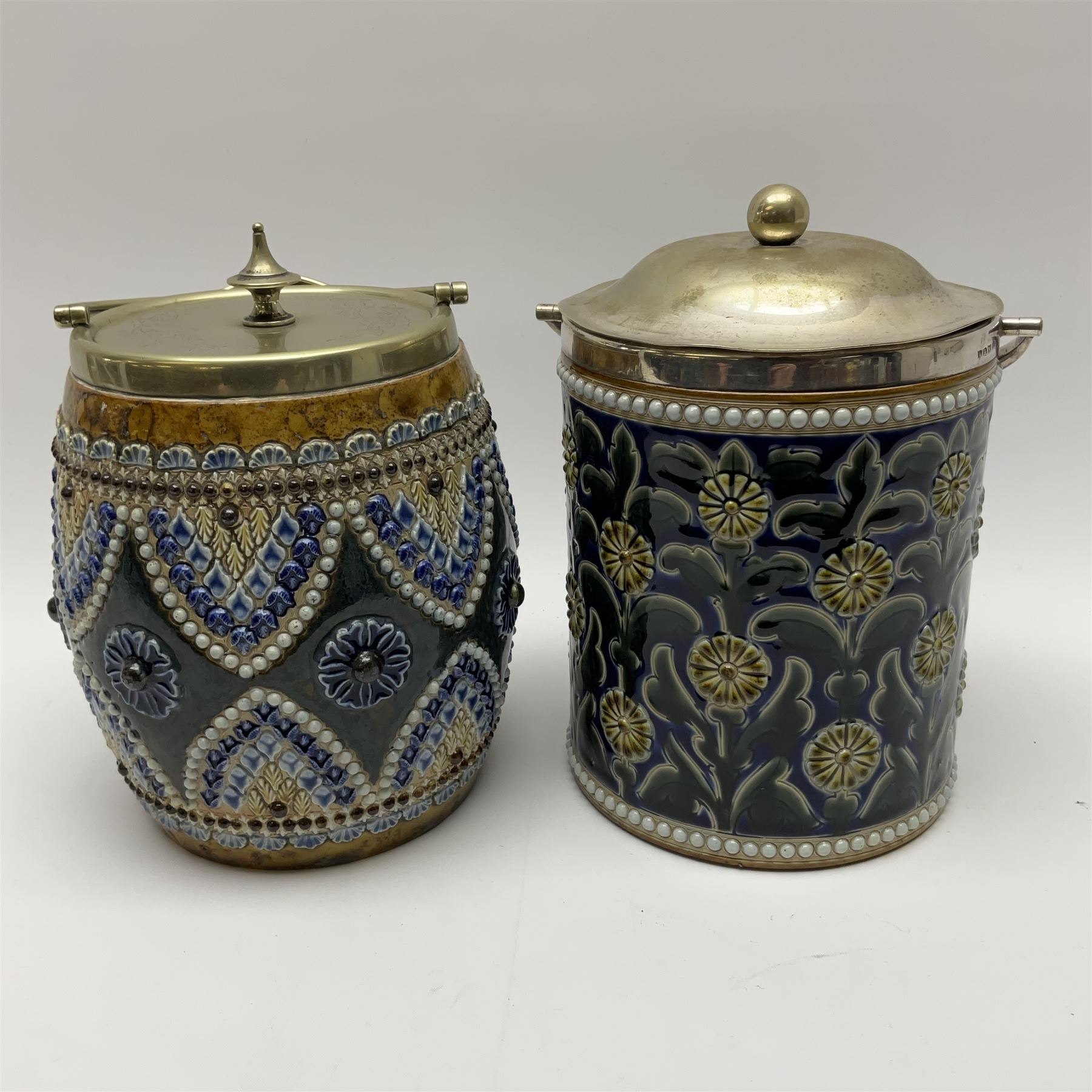 A 19th century Doulton Lambeth stoneware tobacco jar with a silver plate lid - Image 5 of 5