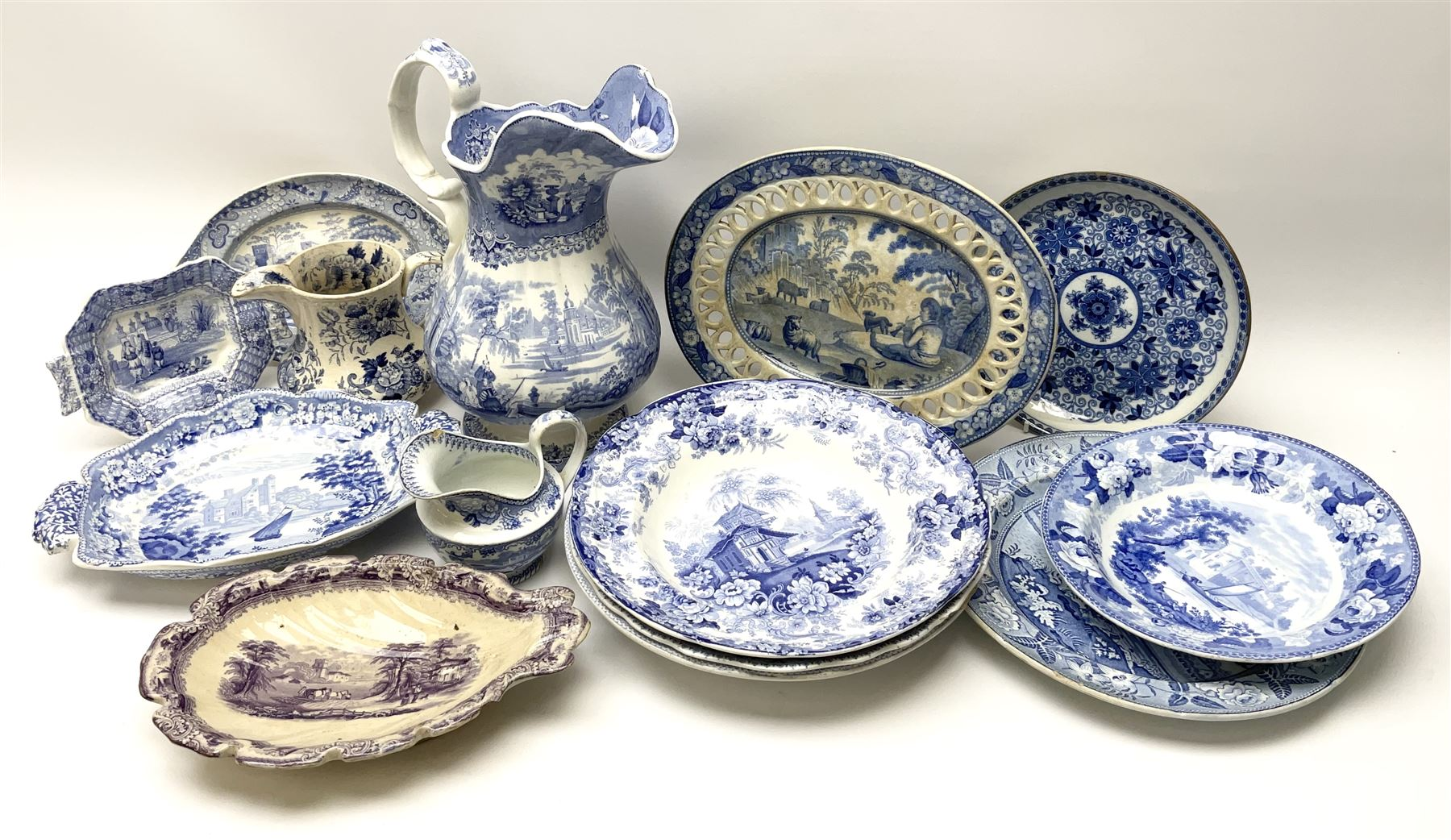 A group of 19th century blue and white transfer printed pottery