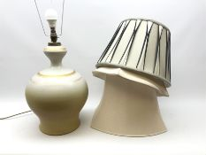 A large table lamp of bulbous baluster form