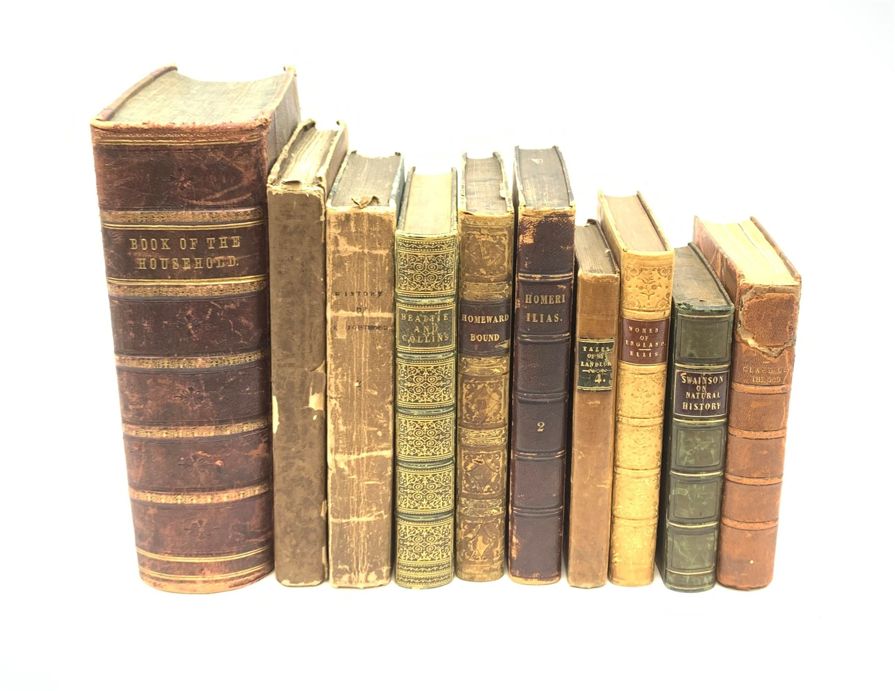 The Book of the Household with half leather binding; seven other 19th century leather bound books in