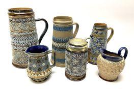 Five Victorian Doulton Lambeth Silicon Ware jugs