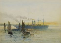 English School (Early 20th century): Transitional Steamship followed by Sailboats