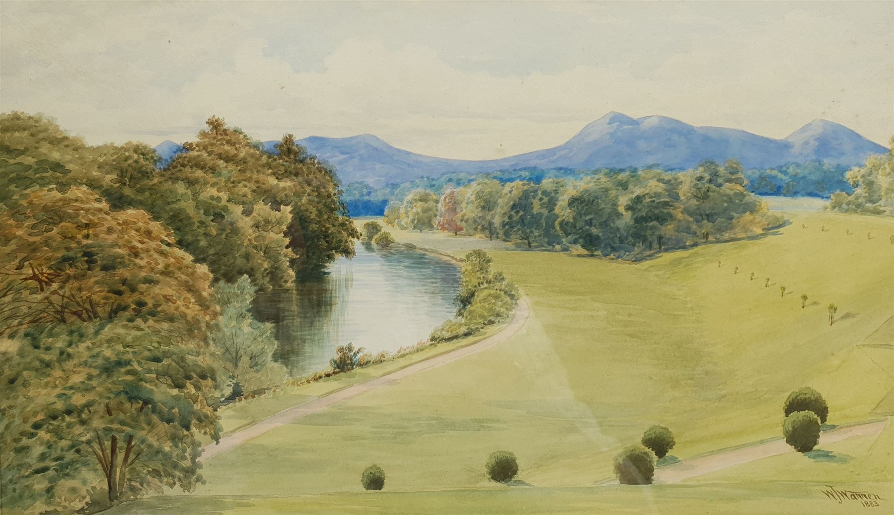 William Joseph Warren (British 1853-1931): 'Caher Park from the Pink Room at Caher Lodge' Tipperary