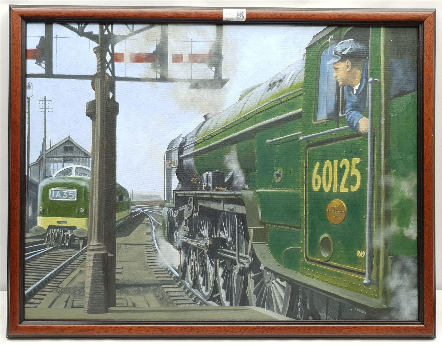 Brian Lister (British 20th century): Locomotive 'Scottish Union' 60125 Leaving Leeds Central Station - Image 2 of 3
