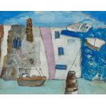 St Ives School (Late 20th century): 'Boats and Mine Stacks Cornwall'
