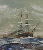 David Cobb RSMA (British 1921-2014): 'An Ironclad c.1870'
