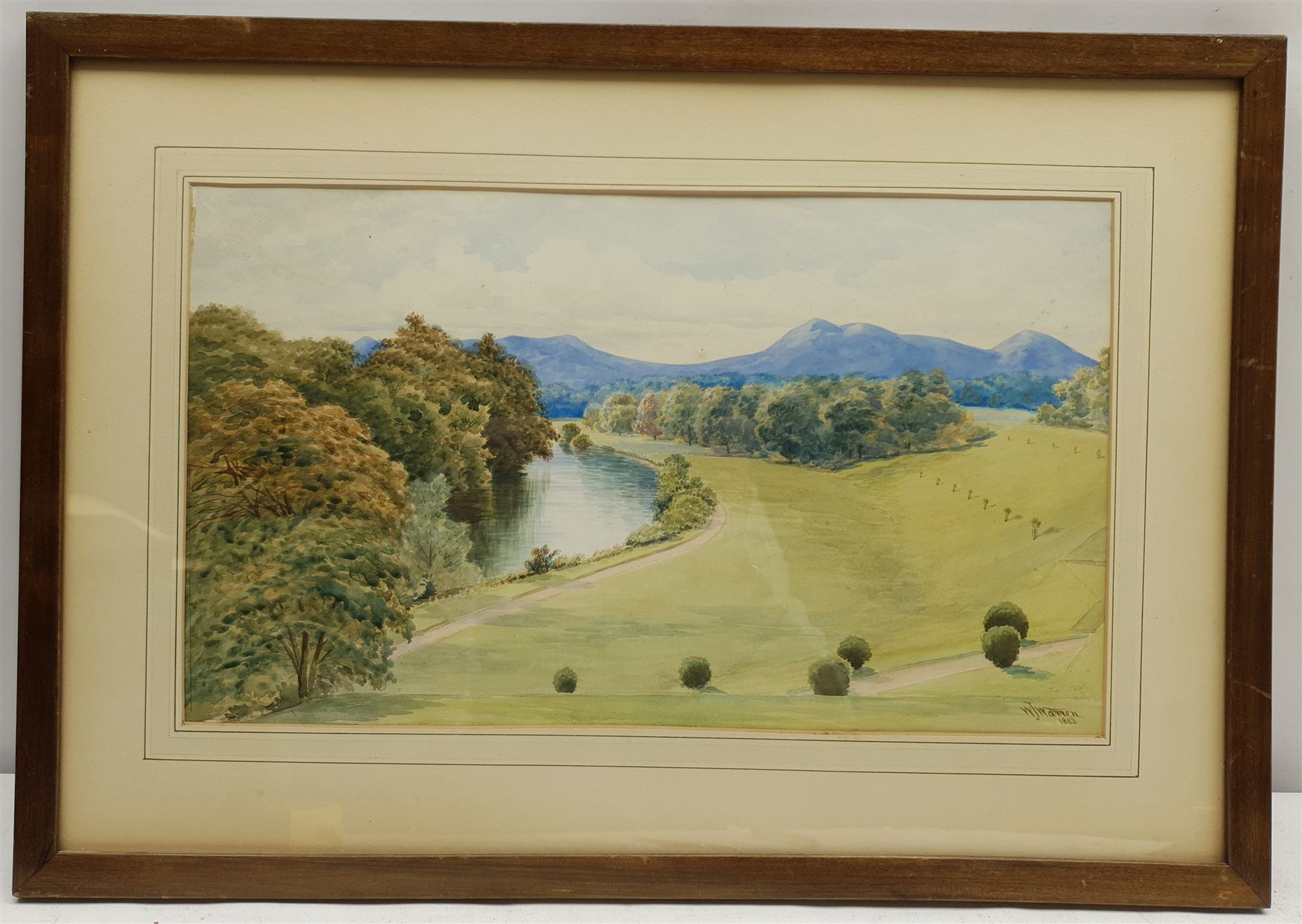 William Joseph Warren (British 1853-1931): 'Caher Park from the Pink Room at Caher Lodge' Tipperary - Image 2 of 3