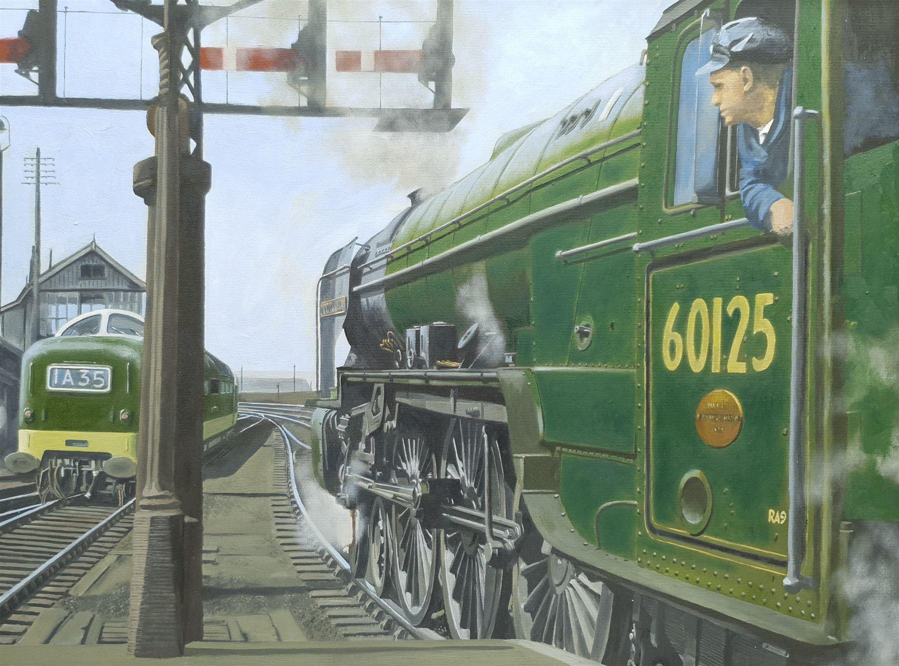 Brian Lister (British 20th century): Locomotive 'Scottish Union' 60125 Leaving Leeds Central Station