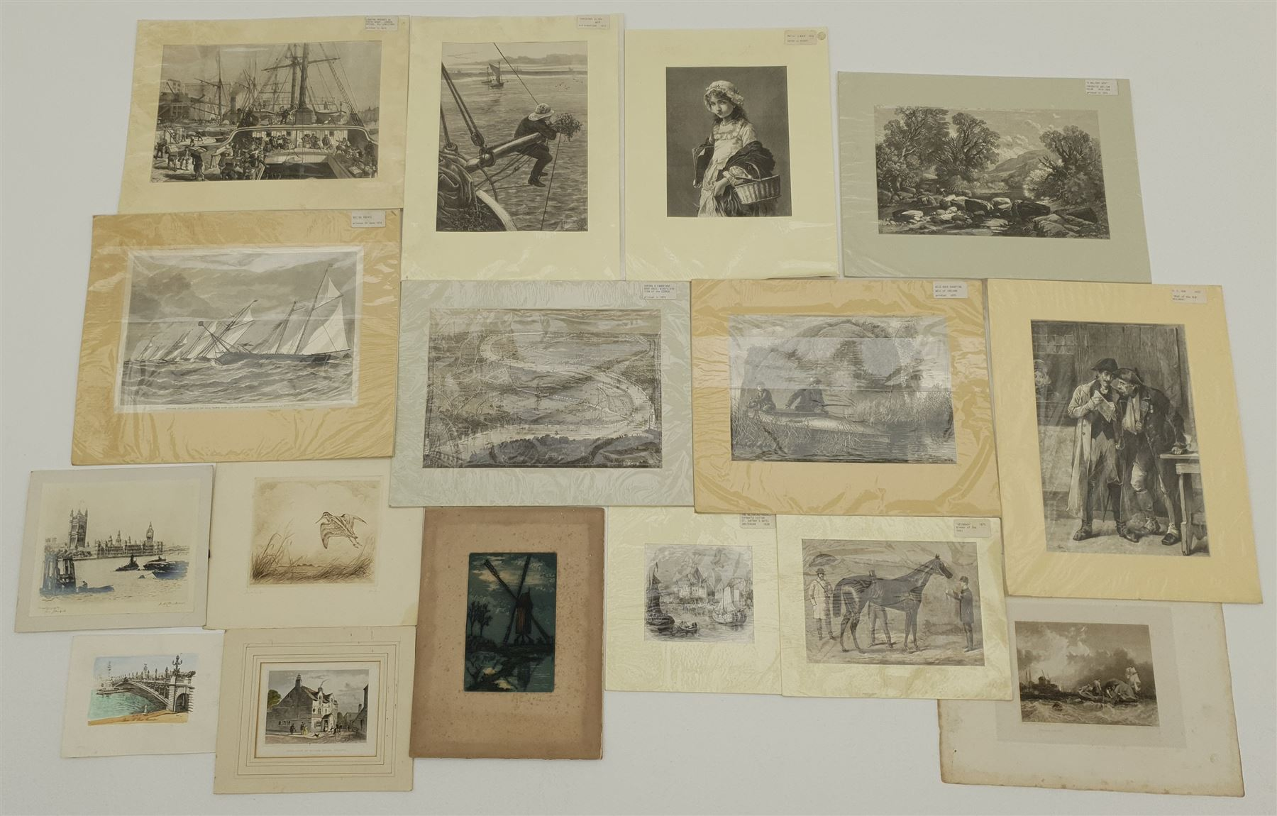 Extremely large quantity of unframed mainly 19th century engravings