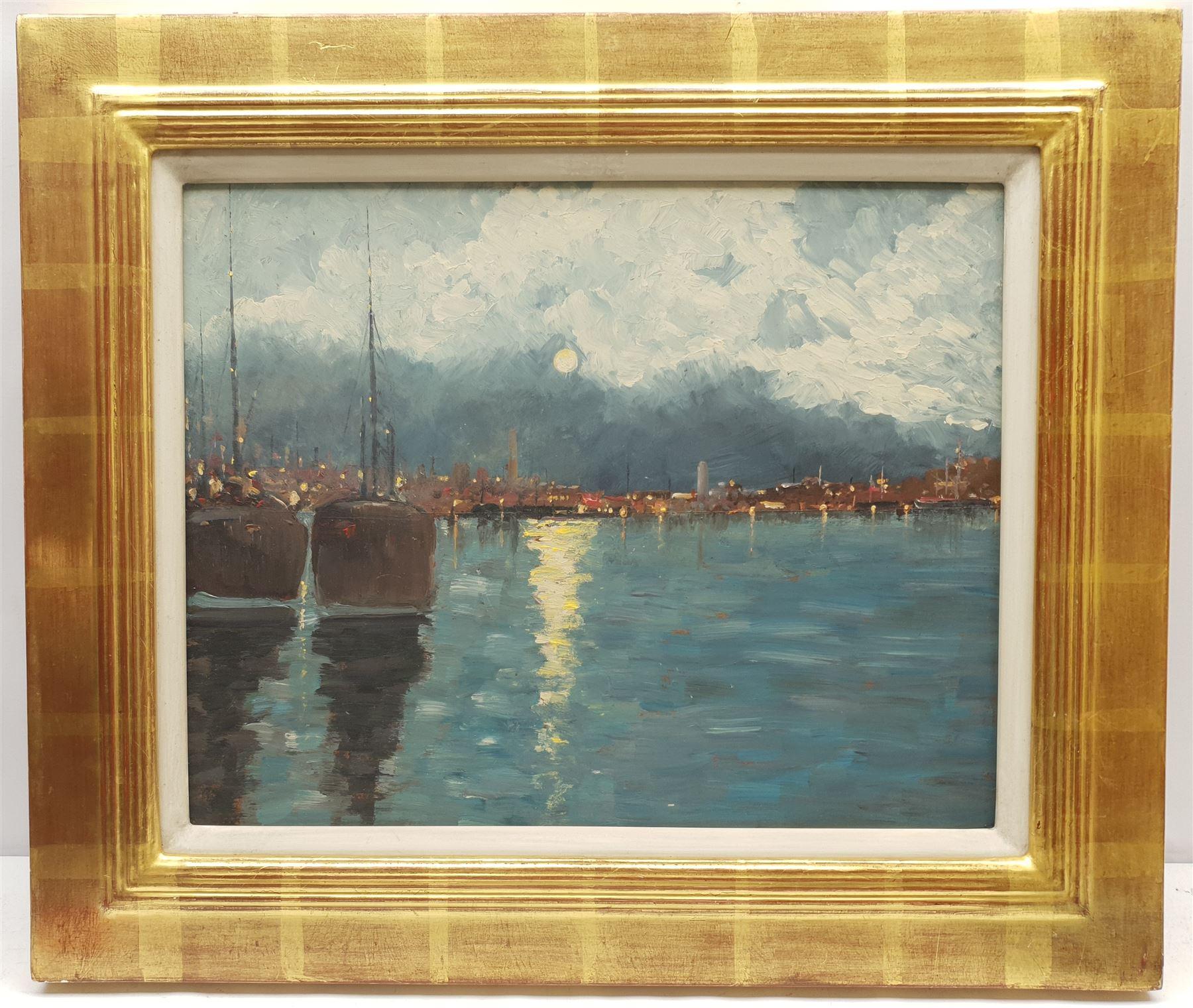 Impressionist School (20th century): Moonlit Harbour - Image 2 of 2