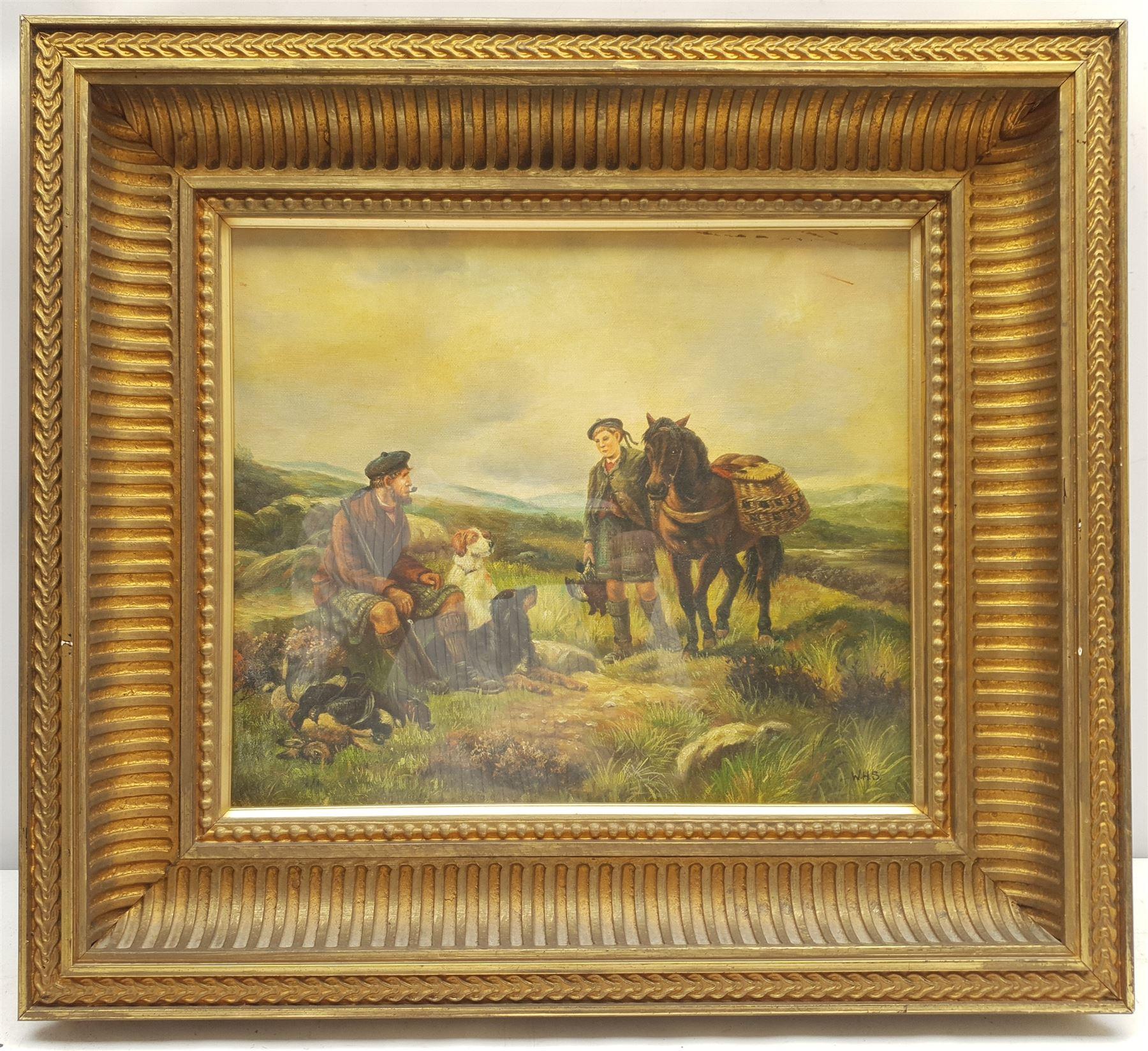 Attrib. William Hamilton Snape (British 1862-1904): Scottish Hunters Taking a Rest - Image 2 of 3