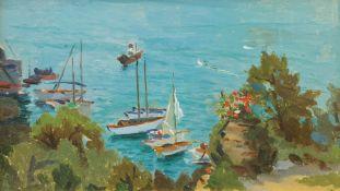 Italian School (Mid 20th century): Yachts on the Coast at Genoa